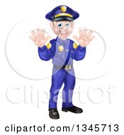 Clipart Of A Cartoon Happy Caucasian Male Police Officer Waving With Both Hands Royalty Free Vector Illustration