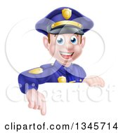 Clipart Of A Cartoon Happy Caucasian Male Police Officer Pointing Down Over A Sign Royalty Free Vector Illustration