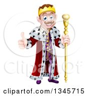 Clipart Of A Happy Brunette White King Giving A Thumb Up And Holding A Staff 3 Royalty Free Vector Illustration by AtStockIllustration