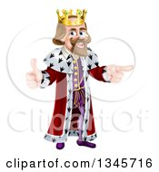 Clipart Of A Happy Brunette Caucasian King Giving A Thumb Up And Pointing To The Right 2 Royalty Free Vector Illustration