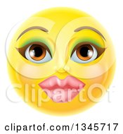 Clipart Of A 3d Pretty Female Yellow Smiley Emoji Emoticon Face With Makeup Royalty Free Vector Illustration