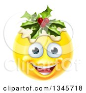 Clipart Of A 3d Christmas Pudding Yellow Smiley Emoji Emoticon Face Royalty Free Vector Illustration