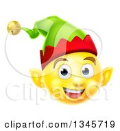 Clipart Of A 3d Yellow Christmas Elf Smiley Emoji Emoticon Face Royalty Free Vector Illustration