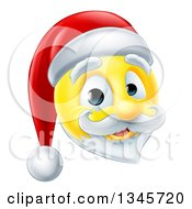 Clipart Of A 3d Christmas Santa Yellow Smiley Emoji Emoticon Face Royalty Free Vector Illustration