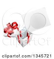 Clipart Of A 3d Blank Sign Popping Out Of A Gift Box Royalty Free Vector Illustration by AtStockIllustration