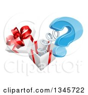 Clipart Of A 3d Blue Question Mark Popping Out Of A Gift Box Royalty Free Vector Illustration