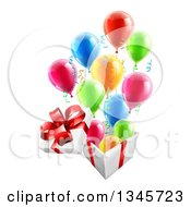 Clipart Of A 3d Open Gift Box With Streamers And Colorful Party Balloons Royalty Free Vector Illustration