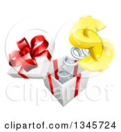Clipart Of A 3d Gold Dollar Currency Symbol Popping Out Of A Gift Box Royalty Free Vector Illustration