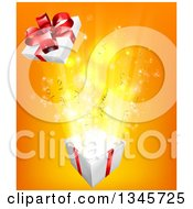 Clipart Of A 3d Lid Flying Off Of A Gift Box Over Orange Royalty Free Vector Illustration by AtStockIllustration