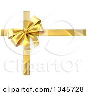 Clipart Of A 3d Gold Christmas Birthday Or Other Holiday Gift Bow And Ribbon Over Shaded White Royalty Free Vector Illustration