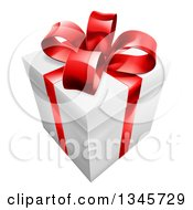 Clipart Of A 3d Gift Box With A Red Bow Royalty Free Vector Illustration by AtStockIllustration