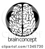 Clipart Of A Black And White Half Human Half Artificial Intelligence Circuit Board Brain Over Sample Text Royalty Free Vector Illustration