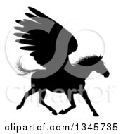 Clipart Of A Black Silhouetted Winged Pegasus Horse Running Royalty Free Vector Illustration by AtStockIllustration
