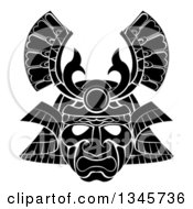 Clipart Of A Black And White Asian Samurai Mask Royalty Free Vector Illustration