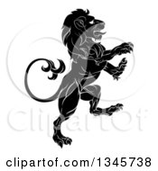 Clipart Of A Black And White Rampant Lion Royalty Free Vector Illustration by AtStockIllustration