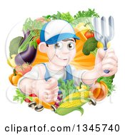 Clipart Of A Young Brunette White Male Gardener In Blue Holding Up A Garden Fork And Giving A Thumb Up In A Wreath Of Produce Royalty Free Vector Illustration by AtStockIllustration