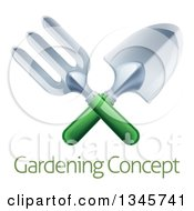 Clipart Of A Crossed Green Handled Garden Fork And Trowel Spade Over Sample Text Royalty Free Vector Illustration