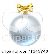 Clipart Of A 3d Silver Christmas Bauble Ornament With A Gold Bow Royalty Free Vector Illustration by AtStockIllustration