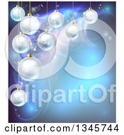 Clipart Of A Christmas Background With 3d Suspended Bauble Ornaments Over Blue Magic Lights Royalty Free Vector Illustration