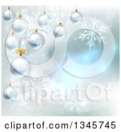Clipart Of A Christmas Background With 3d Suspended Bauble Ornaments Over Magic Lights And Snowflakes Royalty Free Vector Illustration by AtStockIllustration