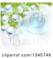 Clipart Of A Christmas Background With 3d Bauble Ornaments Suspended From A Tree Over Magic Lights And Snowflakes Royalty Free Vector Illustration by AtStockIllustration