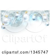 Clipart Of A Christmas Background With 3d Bauble Ornaments Suspended From A Tree Over Lights And Snowflakes Royalty Free Vector Illustration