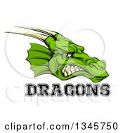 Clipart Of A Snarling Green Horned Dragon Mascot Face With Text Royalty Free Vector Illustration