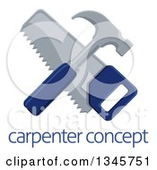 Clipart Of A Crossed Blue Handled Hammer And Hand Saw Over Sample Text Royalty Free Vector Illustration