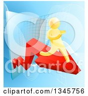 Clipart Of A 3d Gold Man Running On A Red Arrow Over Graphs On Blue Royalty Free Vector Illustration