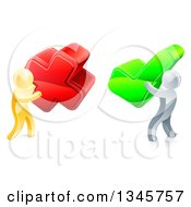 Clipart Of 3d Right And Wrong Gold Men Carrying X And Check Marks 2 Royalty Free Vector Illustration