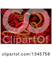 Clipart Of A Background Of 3d Blood Cells And The Ebola Virus Royalty Free Vector Illustration by AtStockIllustration