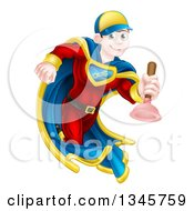 Clipart Of A Cartoon Young Brunette White Male Plumber Super Hero Running With A Plunger Royalty Free Vector Illustration