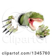 Clipart Of A 3d Roaring Green Tyrannosaurus Rex Dinosaur Slashing Through Metal 3 Royalty Free Vector Illustration