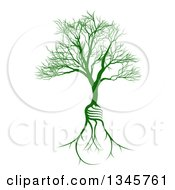 Clipart Of A Bare Tree With Light Bulb Shaped Roots Royalty Free Vector Illustration