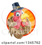 Clipart Of A Pleased Thanksgiving Turkey Bird Wearing A Pilgrim Hat And Giving A Thumb Up And Emerging From A Circle Of Rays 2 Royalty Free Vector Illustration by AtStockIllustration