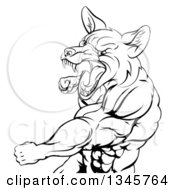 Clipart Of A Black And White Muscular Fox Man Mascot Punching From The Hips Up Royalty Free Vector Illustration