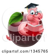 Clipart Of A Cartoon Happy Pink Graduate Book Worm Reading In A Red Apple Royalty Free Vector Illustration