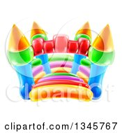 Clipart Of A Colorful Bouncy Castle Jumping House Royalty Free Vector Illustration by AtStockIllustration