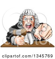 Cartoon Fierce Angry Caucasian Male Judge Spitting Holding A Gavel And Pointing At The Viewer