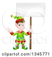 Clipart Of A Cartoon Happy Male Christmas Elf Holding A Blank Sign Royalty Free Vector Illustration by AtStockIllustration