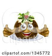 Clipart Of A 3d Christmas Pudding Cake Character Giving Two Thumbs Up Royalty Free Vector Illustration