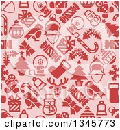 Clipart Of A Seamless Background Pattern Of Red Christmas Items On Pink Royalty Free Vector Illustration