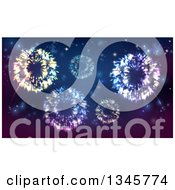Clipart Of A Background Of Fireworks Bursting In The Sky Royalty Free Vector Illustration by AtStockIllustration