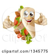Clipart Of A Cartoon Happy Souvlaki Kebab Sandwich Mascot Giving Two Thumbs Up Royalty Free Vector Illustration by AtStockIllustration