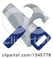 Clipart Of A Crossed Blue Handled Hammer And Hand Saw Royalty Free Vector Illustration by AtStockIllustration