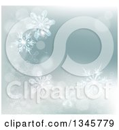 Clipart Of A Winter Background With Bokeh Flares And Snowflakes Royalty Free Vector Illustration