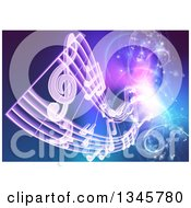 Clipart Of Floating Sheet Music Over Blue With Magical Lights Royalty Free Vector Illustration