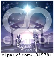 Mary And Joseph Praying Over Baby Jesus Under The Star Of Bethlehem In Purple Tones