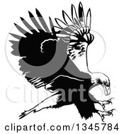 Clipart Of A Black And White Flying Bald Eagle 2 Royalty Free Vector Illustration