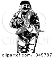 Clipart Of A Black And White Special Police Force Officer Aiming A Firearm Royalty Free Vector Illustration